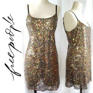 Free People Multi Color Sequin Mini Dress